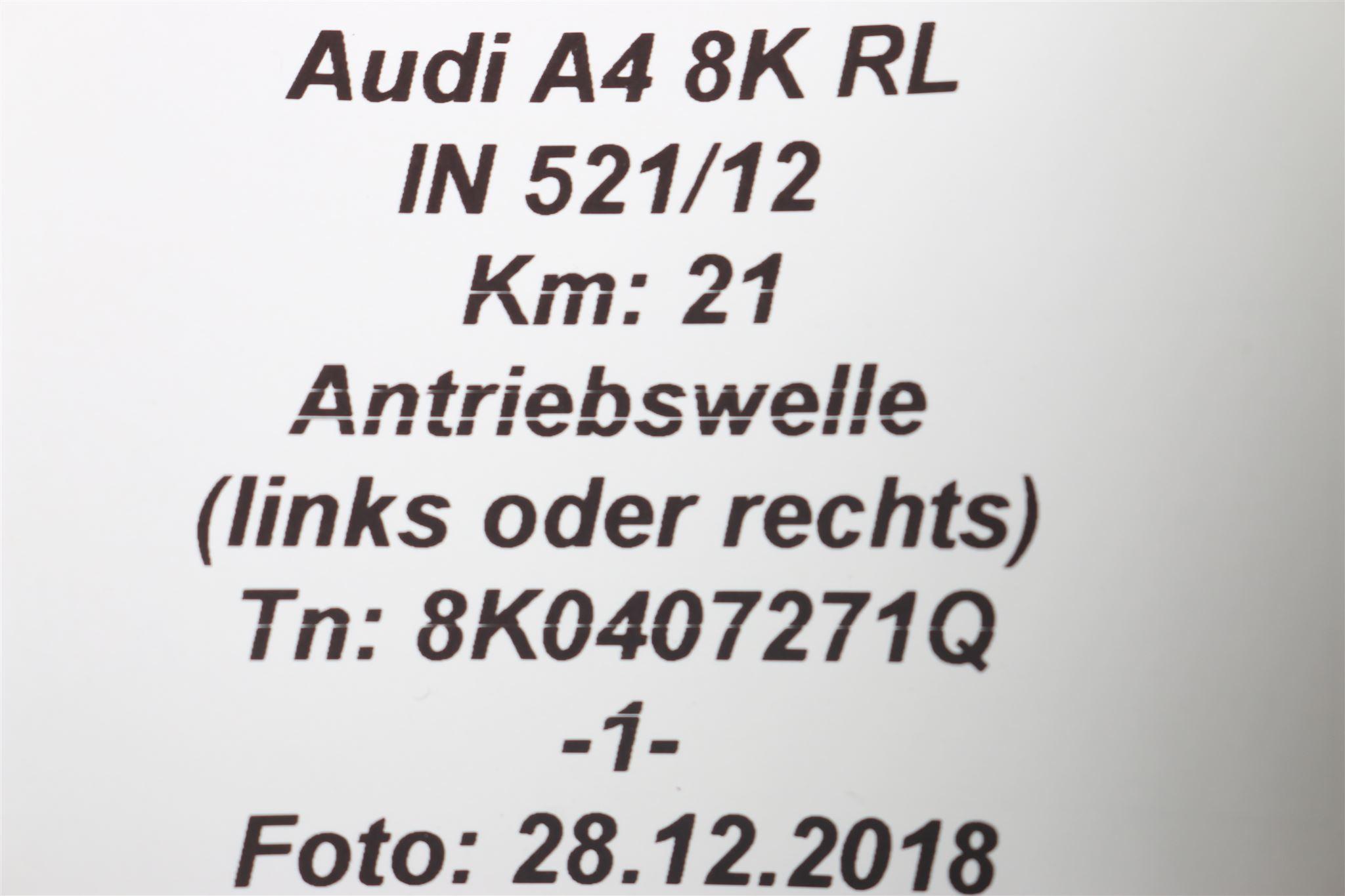 Antriebswelle AUDI A4 8K A5 8T 2.0 TFSI links oder rechts 8K0407271Q Original